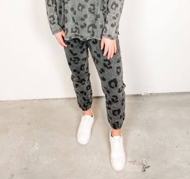 Ash Mineral Washed Leopard Pants