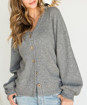 Chenille Knit Long Sleeve Button Short Cardigan