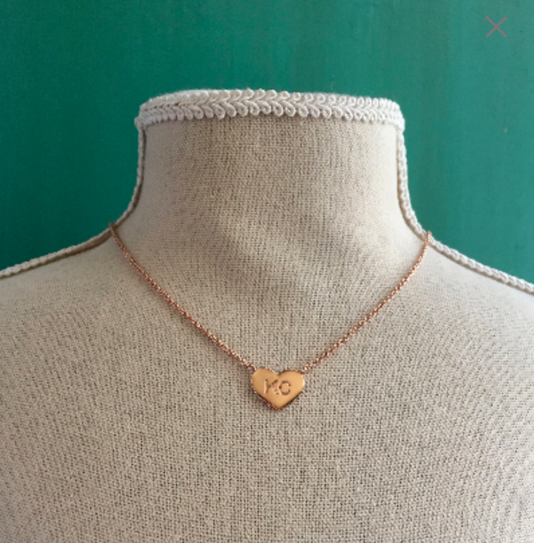 KC Heart Necklace 18 K Rose Gold Plated
