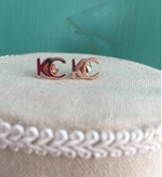 18 K rose gold plated KC earrings