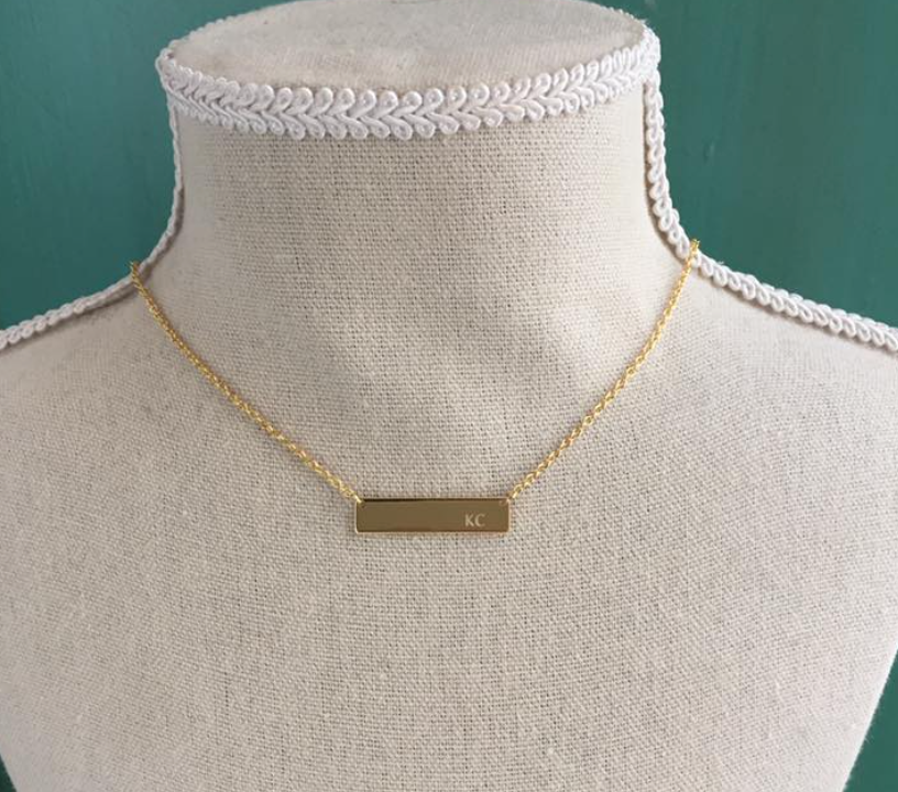 KC bar necklace 18 K gold plated