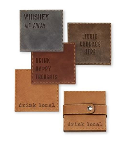 WORD FAUX LEATHER COASTER SET
