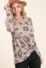 Animal Print Twist Top Mocha