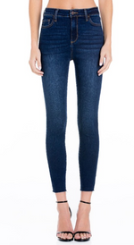 Dark Blue Mid-Rise Crop Jeans