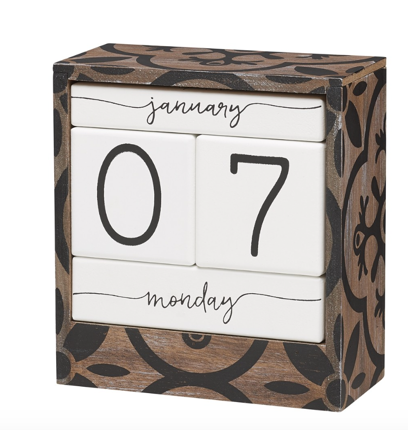 WOOD/BLACK PATTERN BLOCK CALENDAR