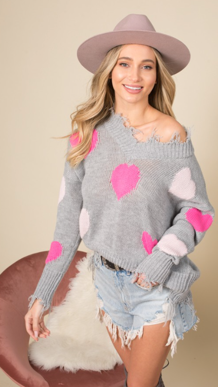 Grey Heart Frayed Sweater