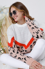 Ivory Salmon Leopard Sweater