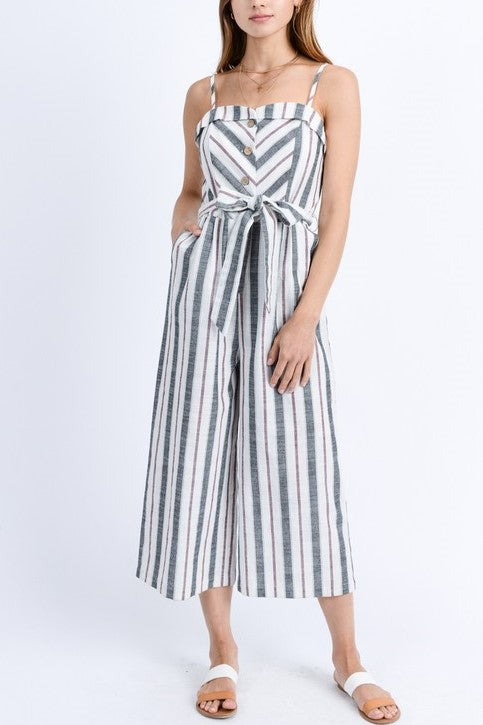 Multi Stripe Button Up Belted Smocked Jumpsuit