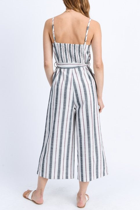 Multi Stripe Button Up Belted Jumpsuit