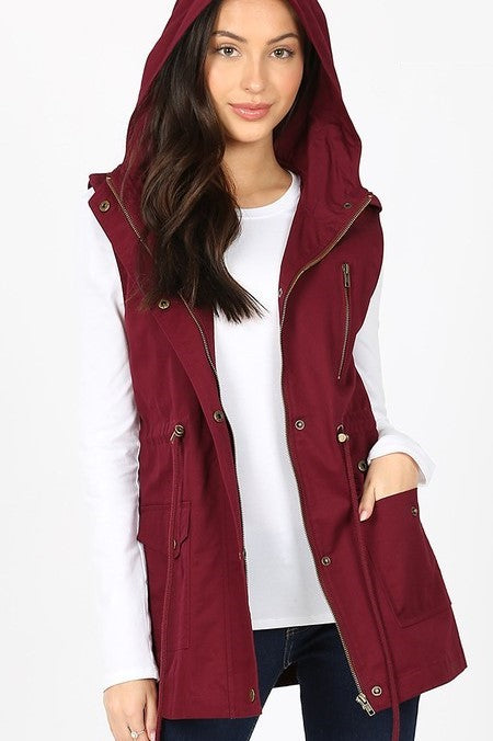 DK Burgundy Military Hoodie Vest with Pockets