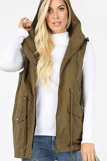 Olive Military Hoodie Vest with Pockets