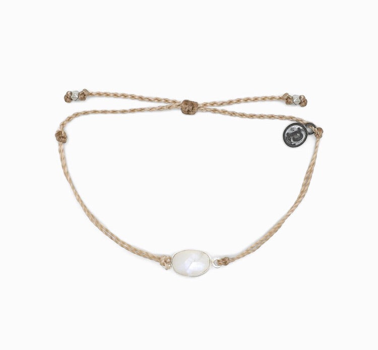 Silver Moonstone Light Tan Pura Vida Bracelet