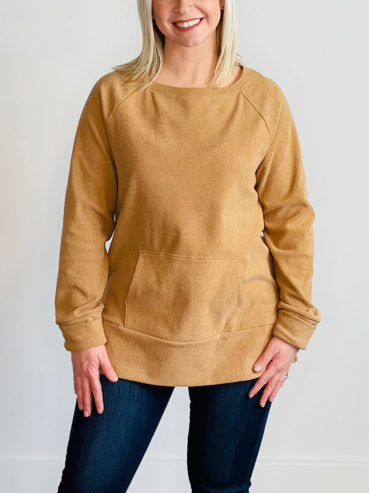 Camel Brushed Long Sleeve Top