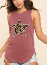 Mauve Leopard star printed jersey top