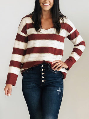 Burgundy color block sweater