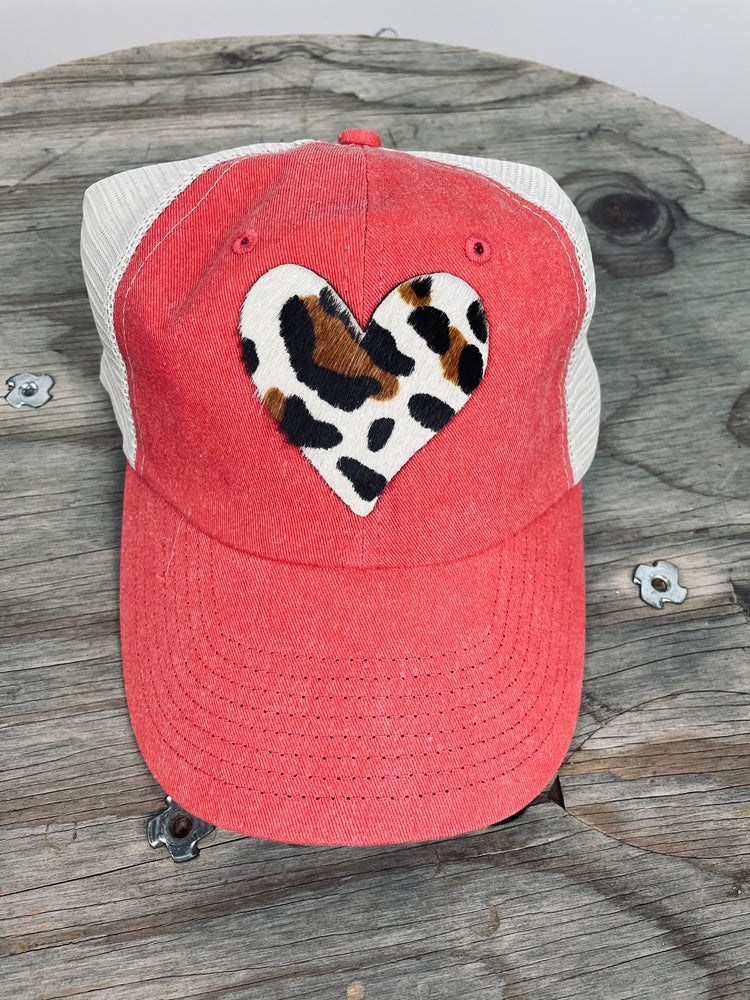 Leopard Heart Red Trucker Hat