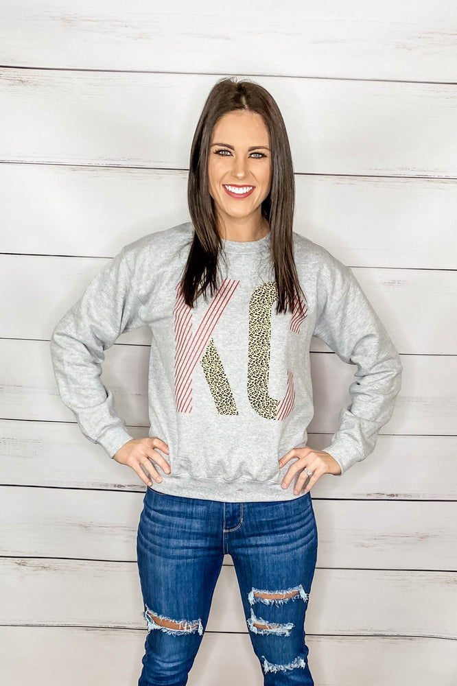 KC stripe Leopard sweatshirt