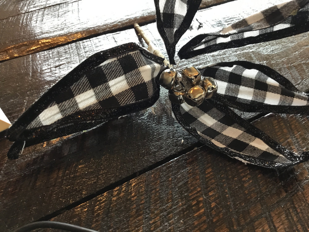 Buffalo Plaid Poinsettia Pick