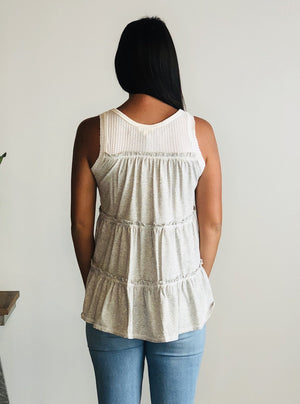 Ivory and Grey Waffle Back Tank