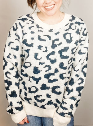 Black and White Leopard Print Sweater