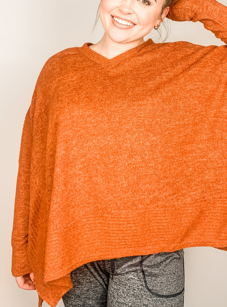 Rust Long Sleeve Solid Knit Top