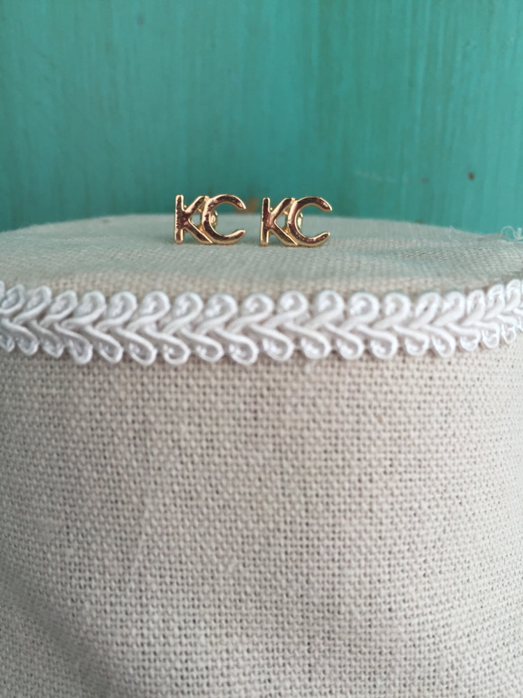 18 K gold plated KC earrings