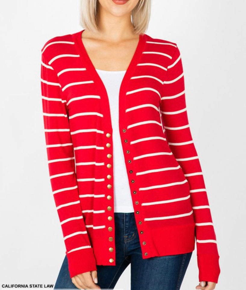 Red Striped Snap Button Cardigan