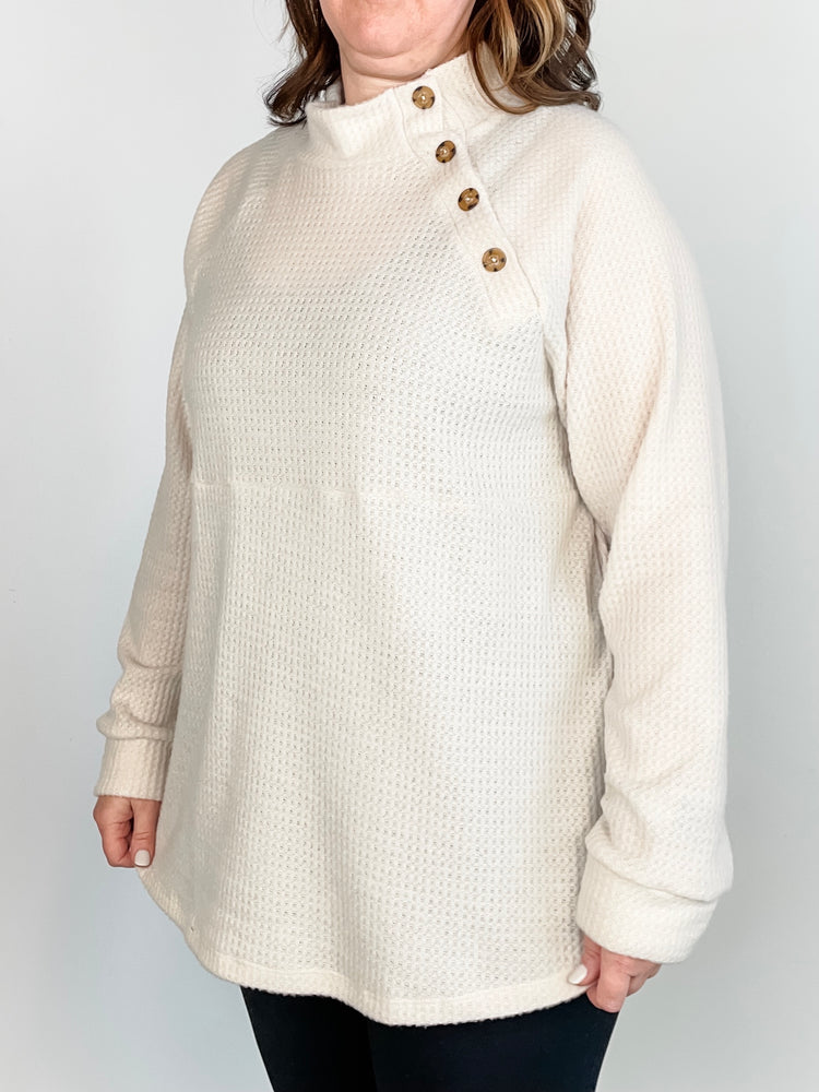 Oatmeal Waffle Knit Sweater with Button