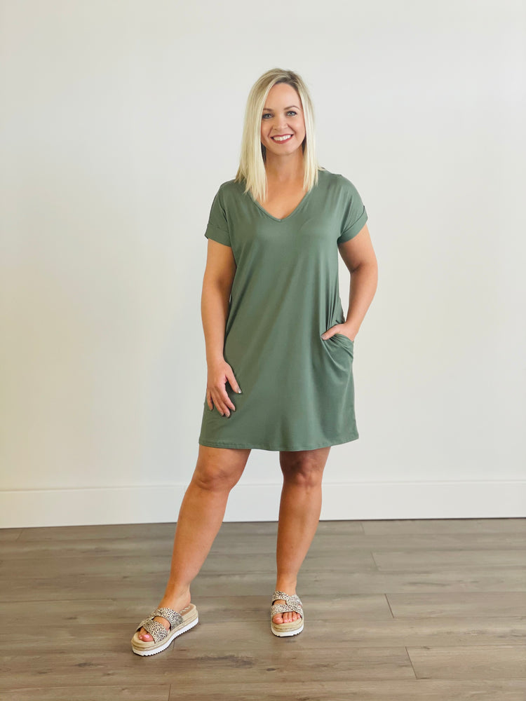 Solid Boxy V-Neck Dress with Pockets