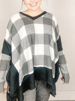 Black and White Buffalo Plaid Knit Top