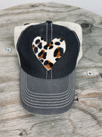 Leopard Heart Black Trucker Hat