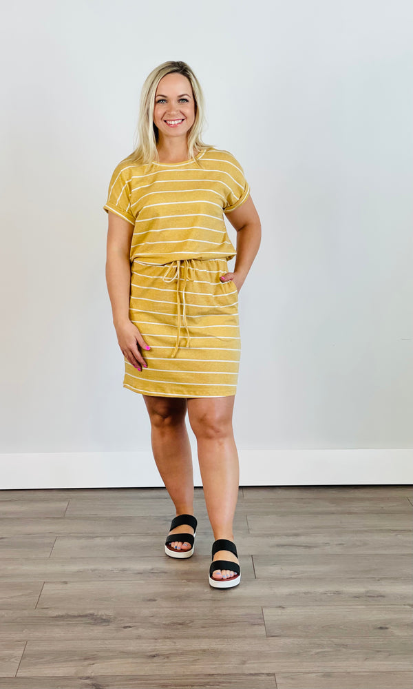 Striped Tri Blend Round Neck with Drawstring Waist