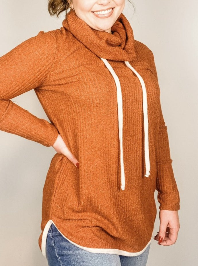 Cinnamon Cowl Neck Knit Top