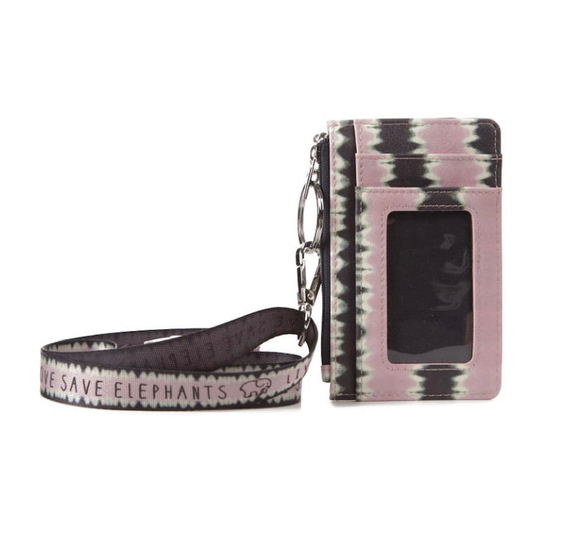 Pink Multi Pattern Lanyard ID Holder
