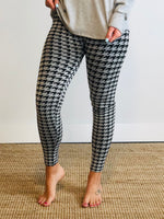 Houndstooth Fleece-Lined Leggings