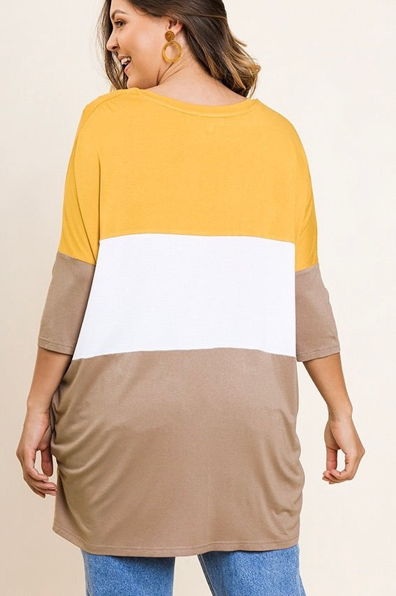 Curvy 3/4 Sleeve Color Block Top