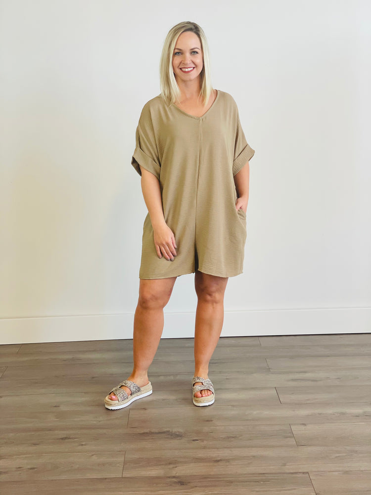 Short Sleeve Romper with Roll Up Cuff Sleeves