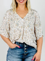 Floral Print V Neck Short Sleeve Top