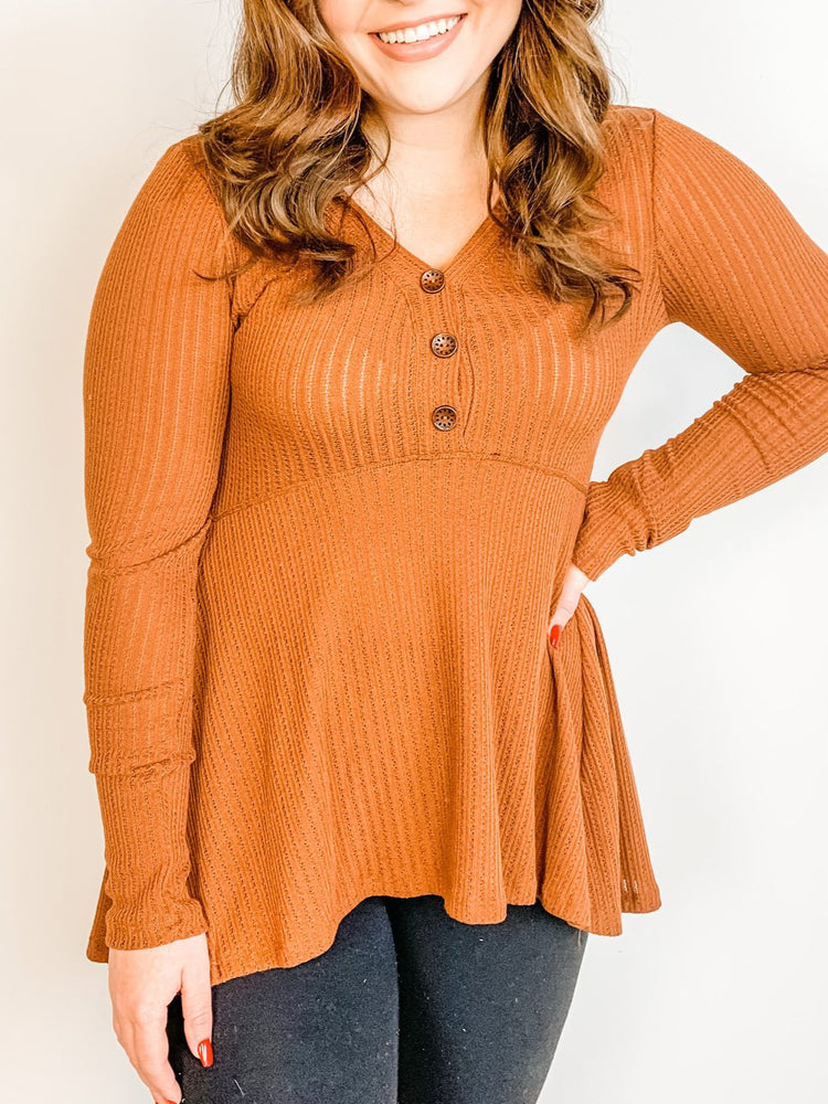 Cinnamon Solid Peplum Kit Top