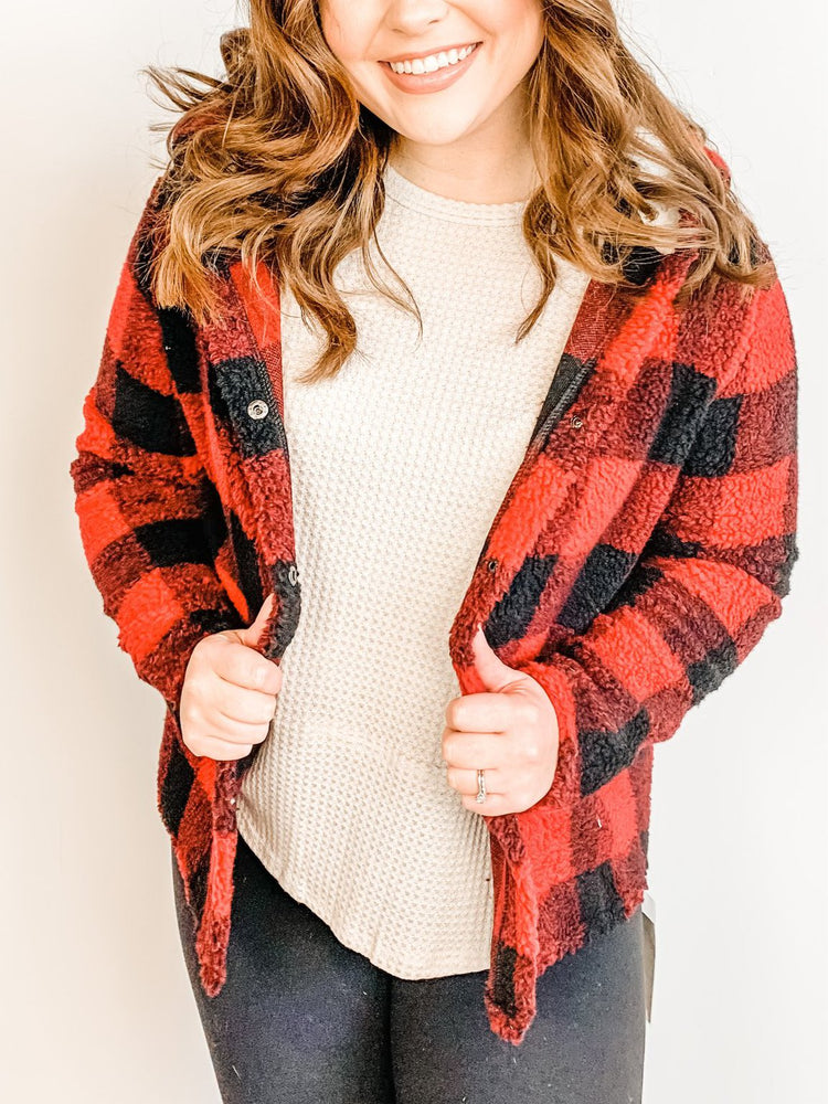 Red Buffalo Plaid Sherpa Coat
