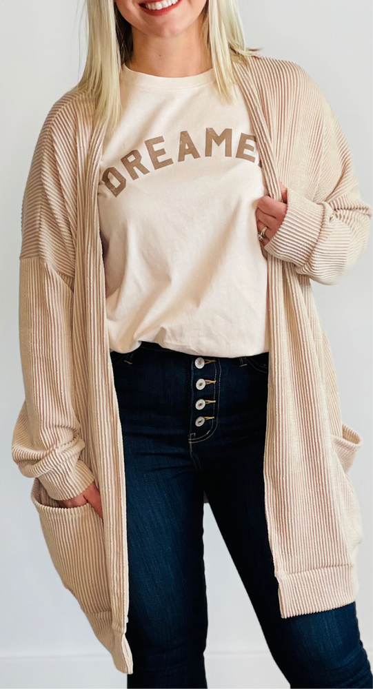 Long Sleeve Ribbed Cardigan w/Pockets