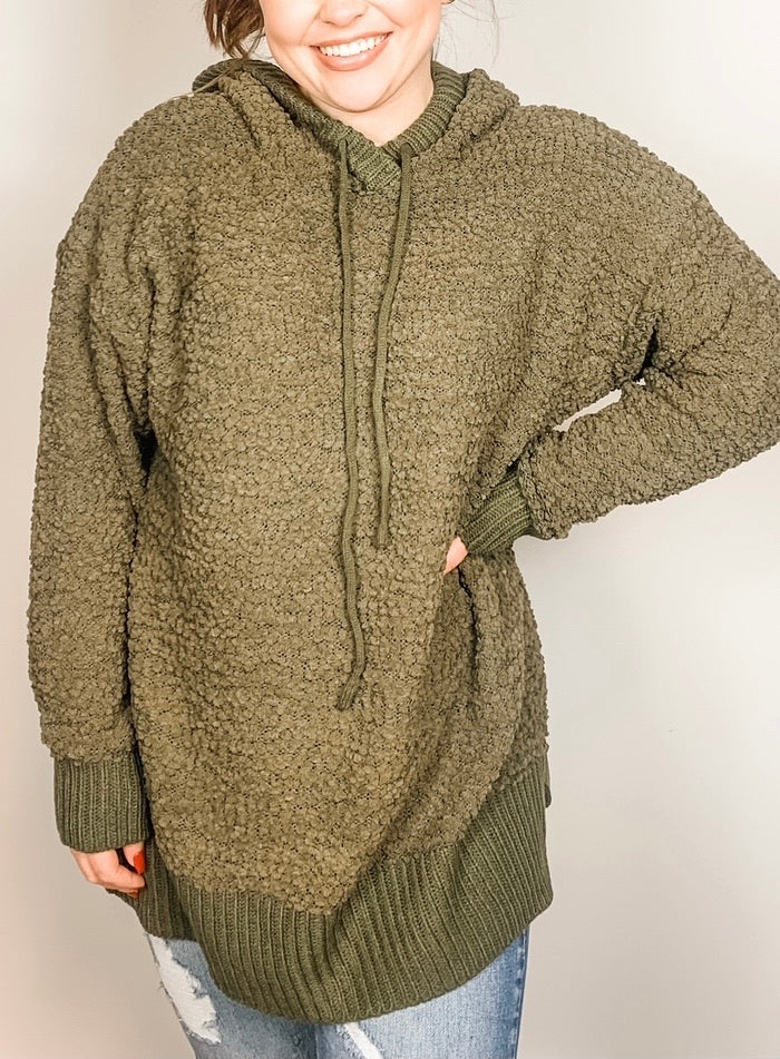 Olive Popcorn Sweater with Hood