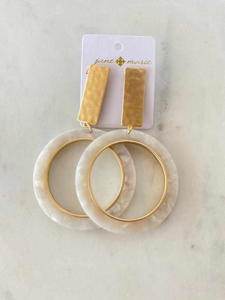 Gold and white resin open circle Earrings