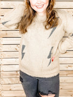 Fuzzy Lighting Bolt Sweater