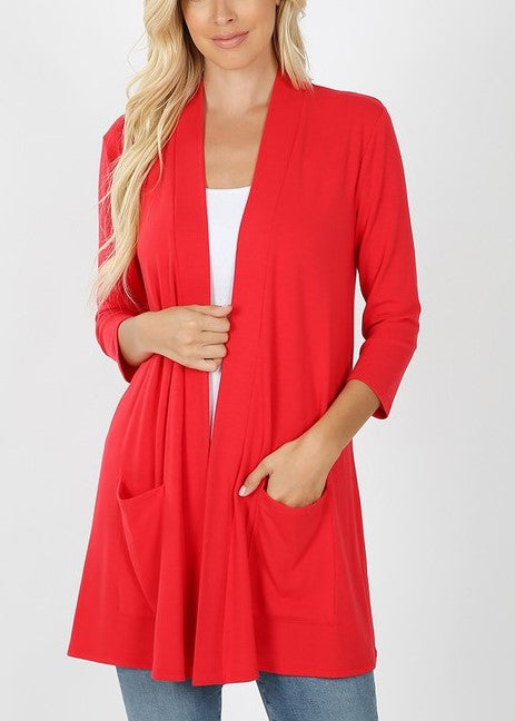 Red Cardigan w/Pockets