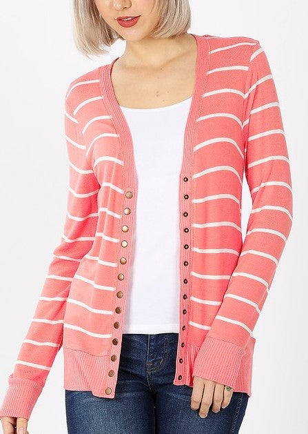 Coral Striped Snap Button Cardigan