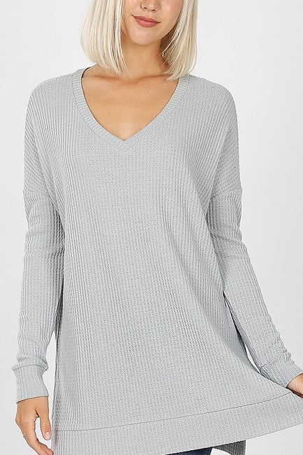 Thermal Waffle V-Neck Sweater Top