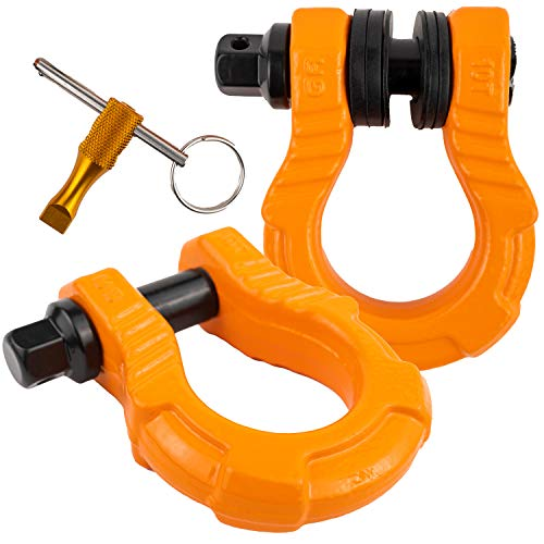 GearAmerica UBER Shackles with Anti-Theft Lock (Orange) | 80,000 lb (40T) MBS & 20,000 lb (10T) WLL