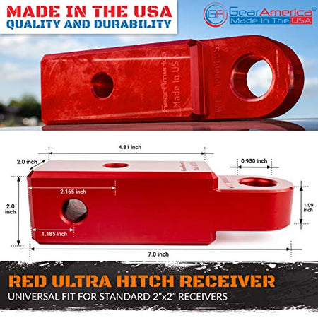 "GearAmerica Aluminum Ultra Hitch Receiver Shackle Mount 2"" x 2"" (Red)- Made in USA"