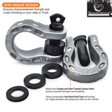 Mega Shackles - Silver (2PK) | 68,000 lbs MBC (17,000 lbs WLL) | Off-Road Recovery Anchor Points